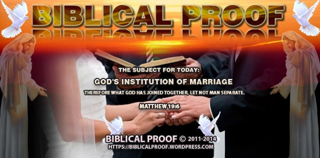 God's Institution of Marriage
